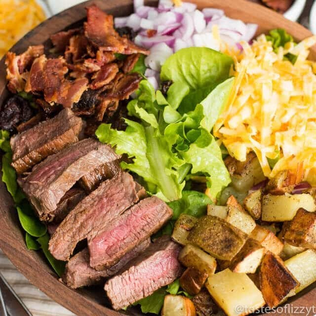 bowl of steak and potato salad