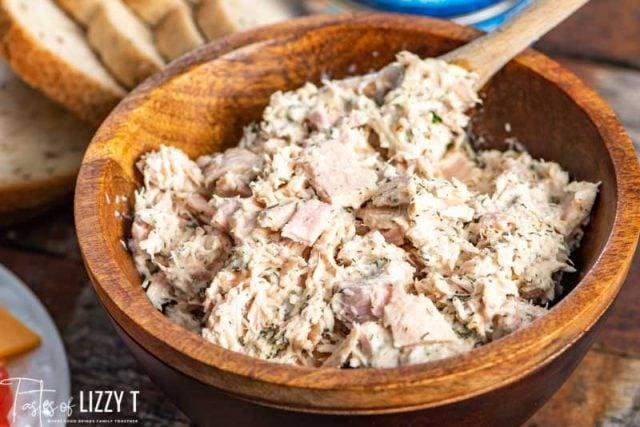 mixed tuna salad in a bowl