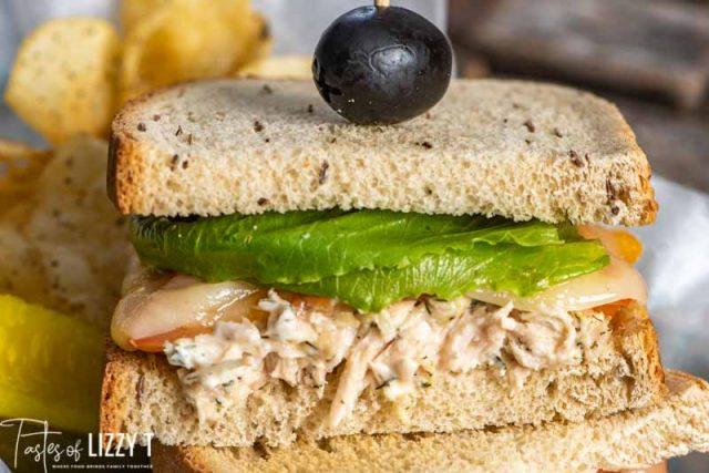 tuna sandwich on rye bread