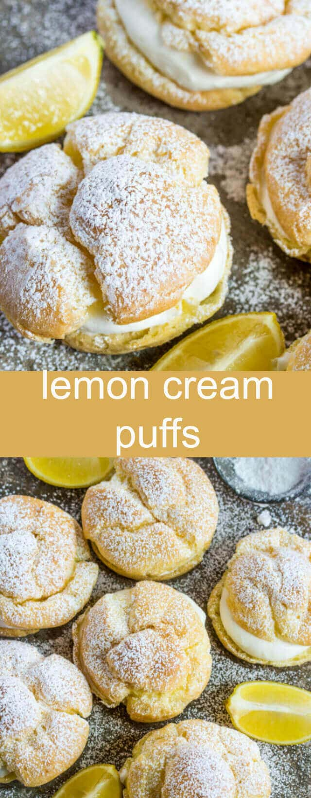 Lemon Cream Puffs {An Easy Lemon Twist on a Classic Recipe} cream puff/lemon/dessert Light and delicious these Lemon Cream Puffs are baked until puffy and filled with a light lemon cream filling! A perfect addition to your dessert line!