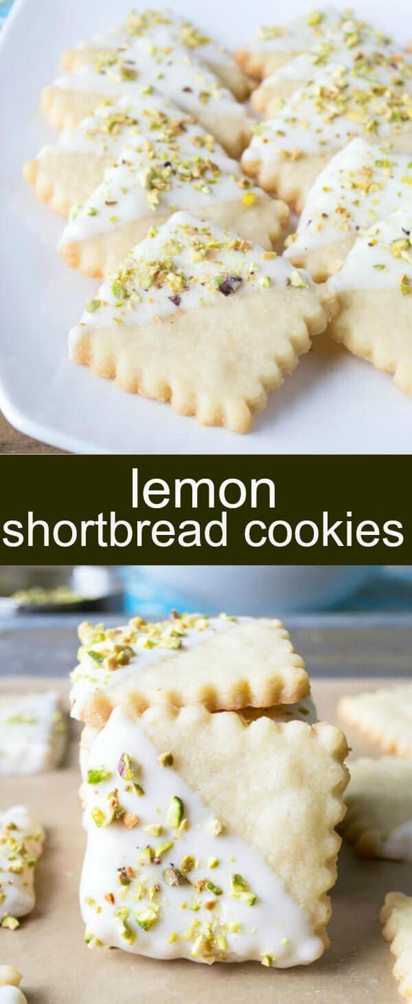 Lemon Shortbread Cookies {An Easy Lemon Pistachio Cookie} shortbread/lemon/pistachio Crisp lemon shortbread cookies dipped in white chocolate and topped with pistachios.  A pretty spring cookie bursting with flavor.