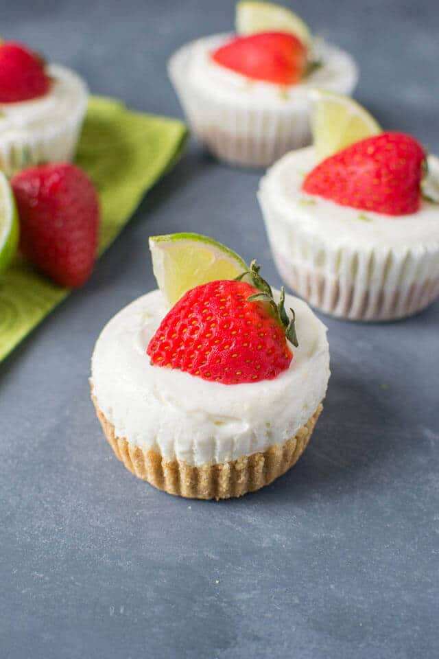 No Bake Strawberry Lime Cheesecakes