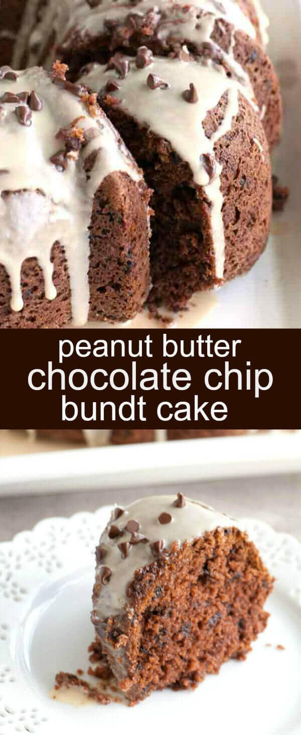 Peanut Butter Chocolate Chip Bundt Cake {An Easy Semi-Homemade Bundt Cake} bundt cake/chocolate/peanut butter Peanut Butter Chocolate Chip Bundt Cake is a perfect mix of flavor. Moist cake filled with mini chocolate chips and topped with a peanut butter glaze.