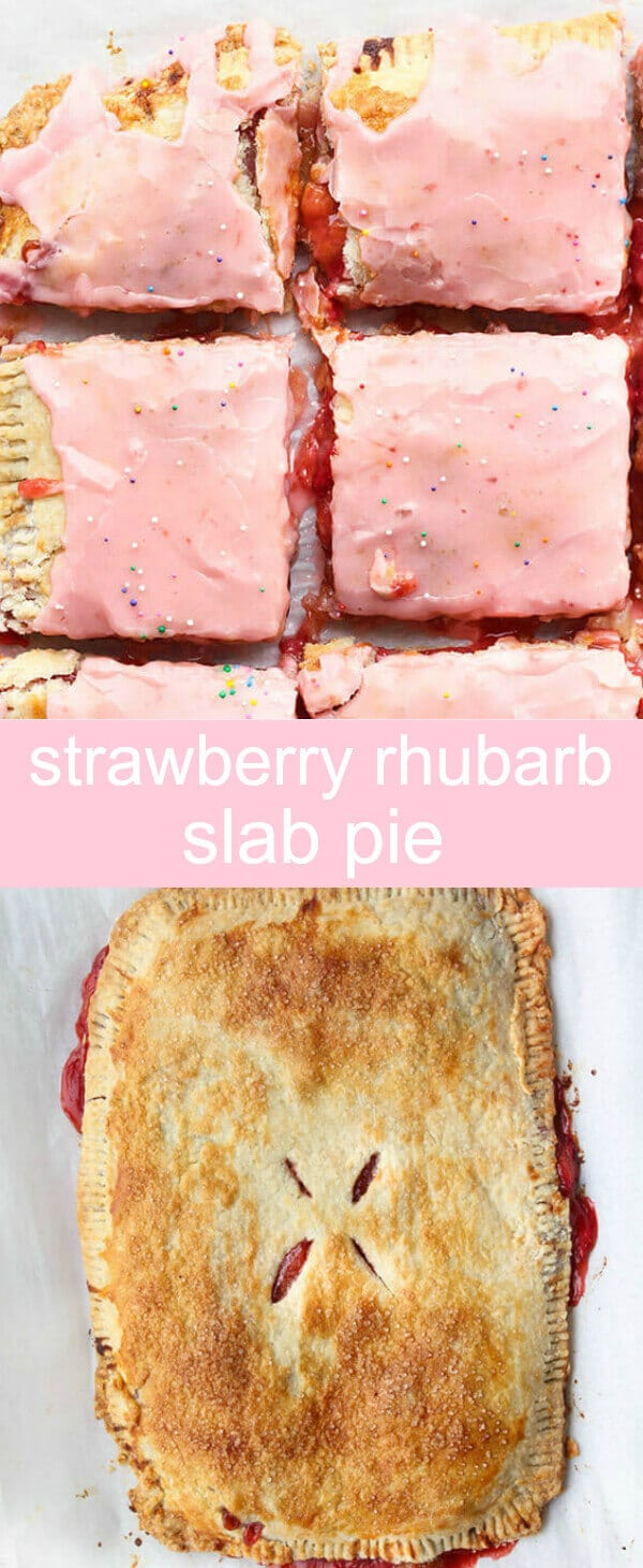 Strawberry Rhubarb Slab Pie {A Giant Homemade Strawberry Rhubarb Pop-tart} strawberry/poptart/pie Fresh, fun and delicious, this Strawberry Rhubarb Slab Pie is a unique and tasty twist on a classic treat!