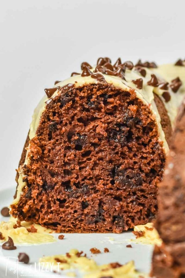 slice of chocolate peanut butter bundt cake with chocolate chips
