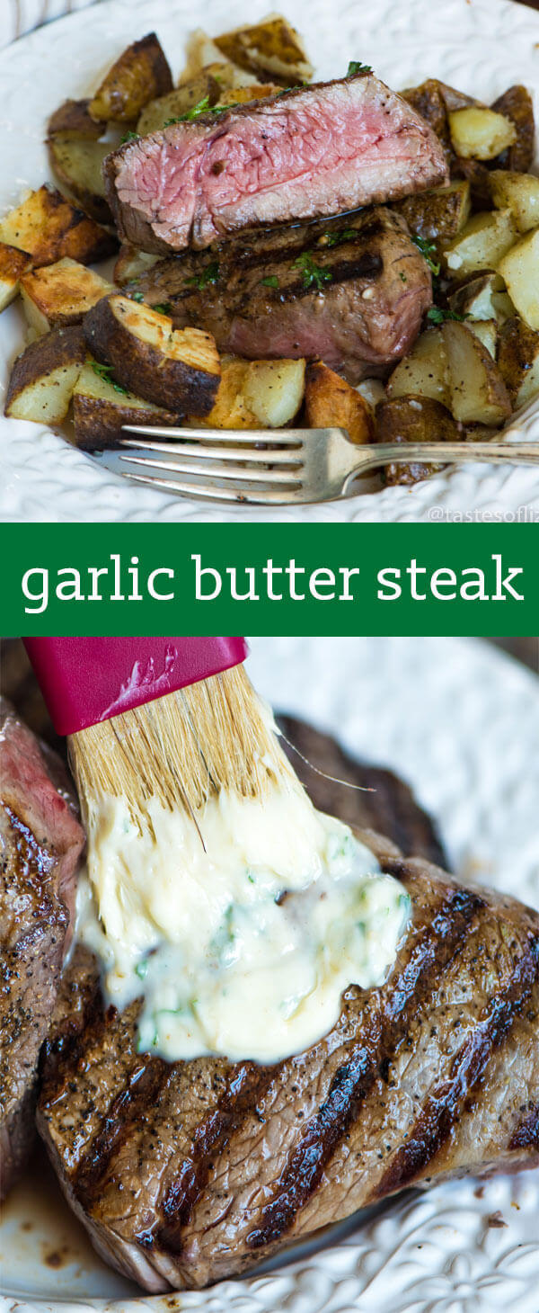 You've never had a steak like this! A homemade savory seasoned butter makes this Garlic Butter Steak melt in your mouth. Find tips for grilling the best steak ever. Garlic Butter Steak Recipe {Hints for The Best Steak Cuts and Grilling Temperatures}