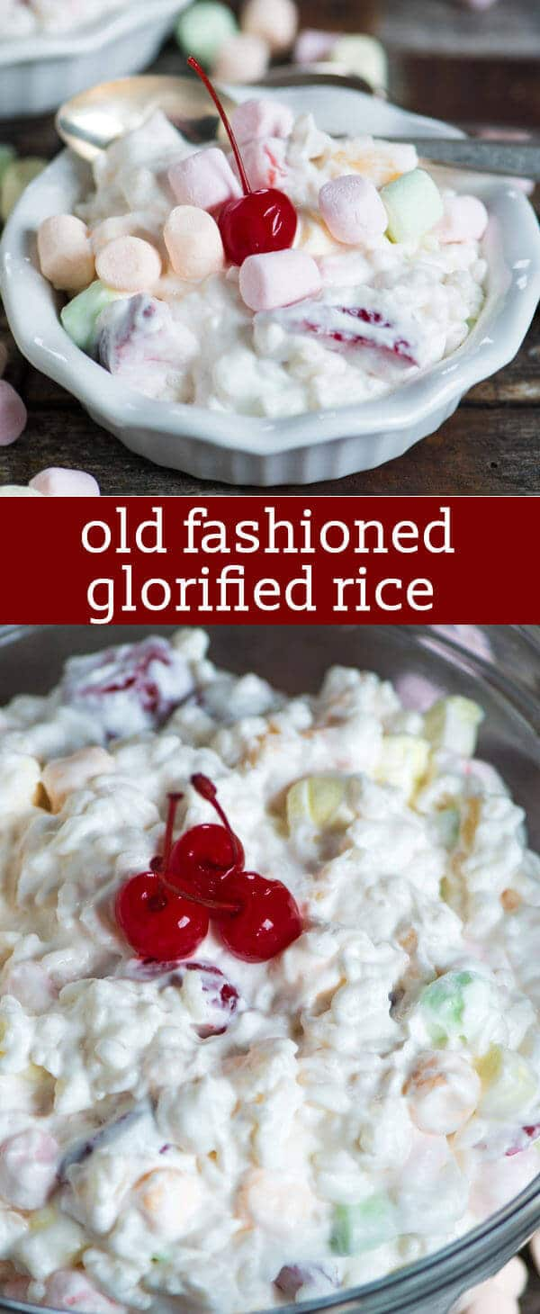 Glorified Rice {An Old Fashioned Creamy Dessert Recipe with Fruit and Marshmallows} Old Fashioned Glorified Rice is a creamy dessert with marshmallows, strawberries, pineapple... and rice! A unique no bake recipe for summer picnics.