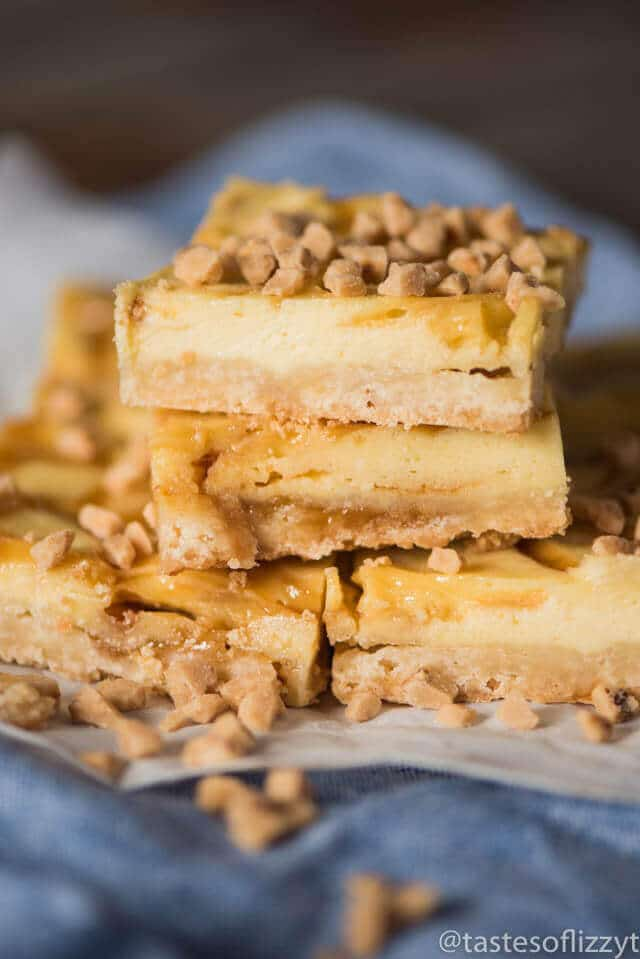 Looking for an easy dessert recipe for a potluck? Try these praline cheesecake bars with toffee bits and a shortbread crust. They're perfect on their own or with a scoop of ice cream drizzled with caramel.