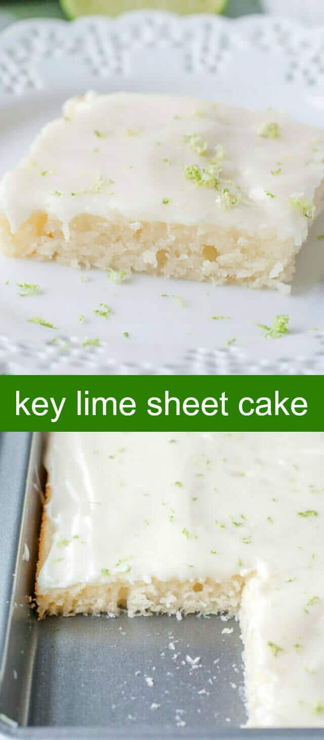 Key Lime Sheet Cake {A Fun and Easy Summer Sheet Cake} sheet cake/key lime/cake Key Lime Sheet Cake is a citrus take on buttermilk sheet cake, with a light frosting with a hint of lime, this cake is great for summertime gatherings.