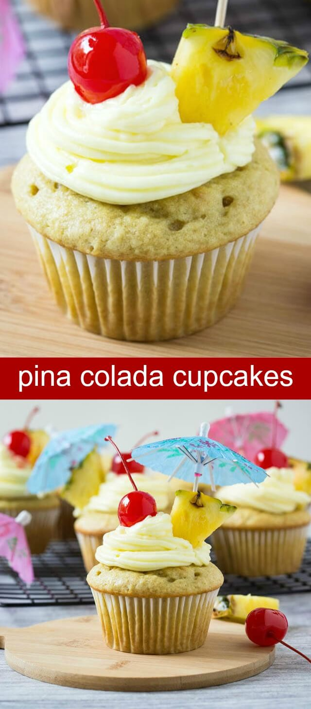 Pina Colada Cupcakes {A Fresh Fruity Cupcake for Summertime} cupcakes/pina colada/pineapple Pina colada cupcakes - Enjoy tropical flavors of pina colada drink in these cupcakes. These are kids friendly and perfect to enjoy fresh pineapples.