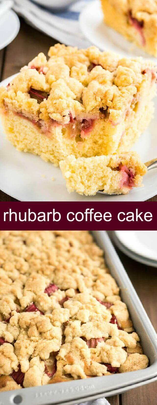 Rhubarb Coffee Cake {A Juicy Delicious Coffee Cake} rhubarb/cake/coffee cake This Rhubarb Coffee Cake is topped with crunchy streusel and studded with rhubarb! An easy-to-make sheet cake recipe that's perfect for spring and summer.