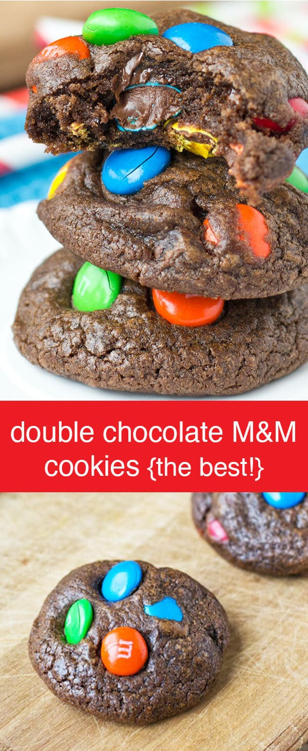 These Double Chocolate M&M Cookies are the fudgiest, chocolatiest cookies yet! Super soft and full of kid-friendly M&M chocolate candies. Double Chocolate M&M Cookies {The Best Chocolate Cookie Recipe}
