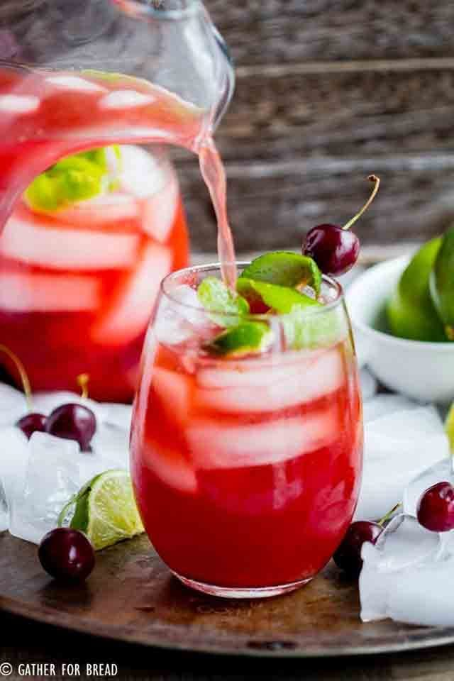 From Scratch Homemade Cherry Limeade Recipe with Fresh Fruit