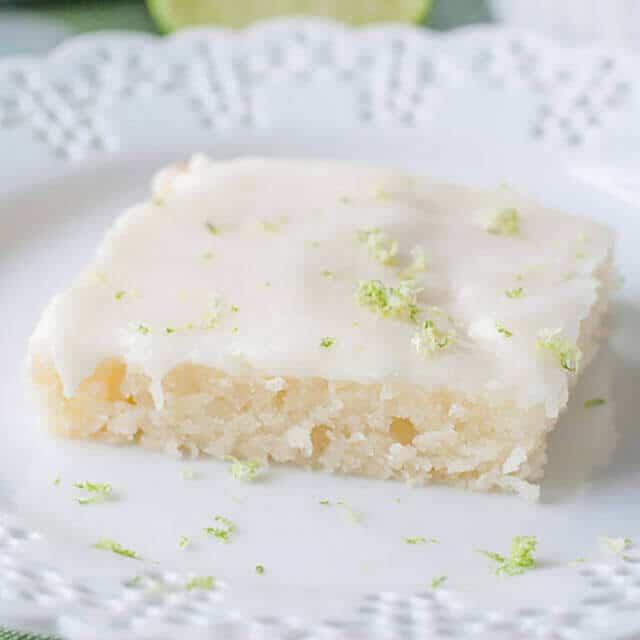 key lime sheet cake on a plate