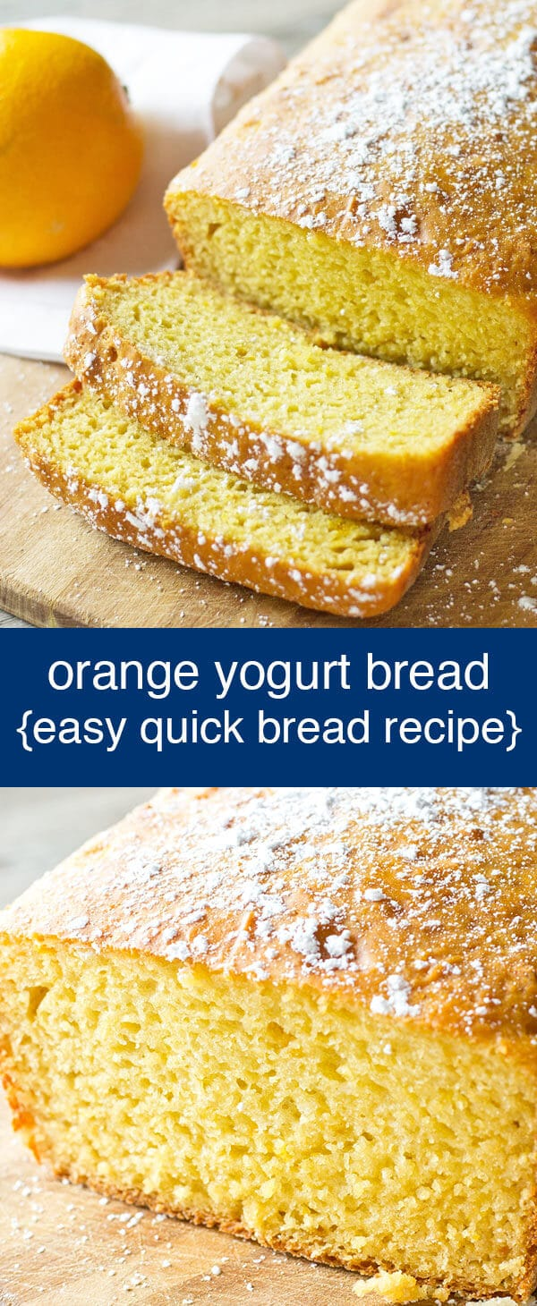 This Orange Yogurt Quick Bread is low in fat and has no refined sugar, but is full of amazing orange flavor. Easy breakfast or brunch recipe. Orange Yogurt Quick Bread {Sweetened with Orange Juice and Honey}