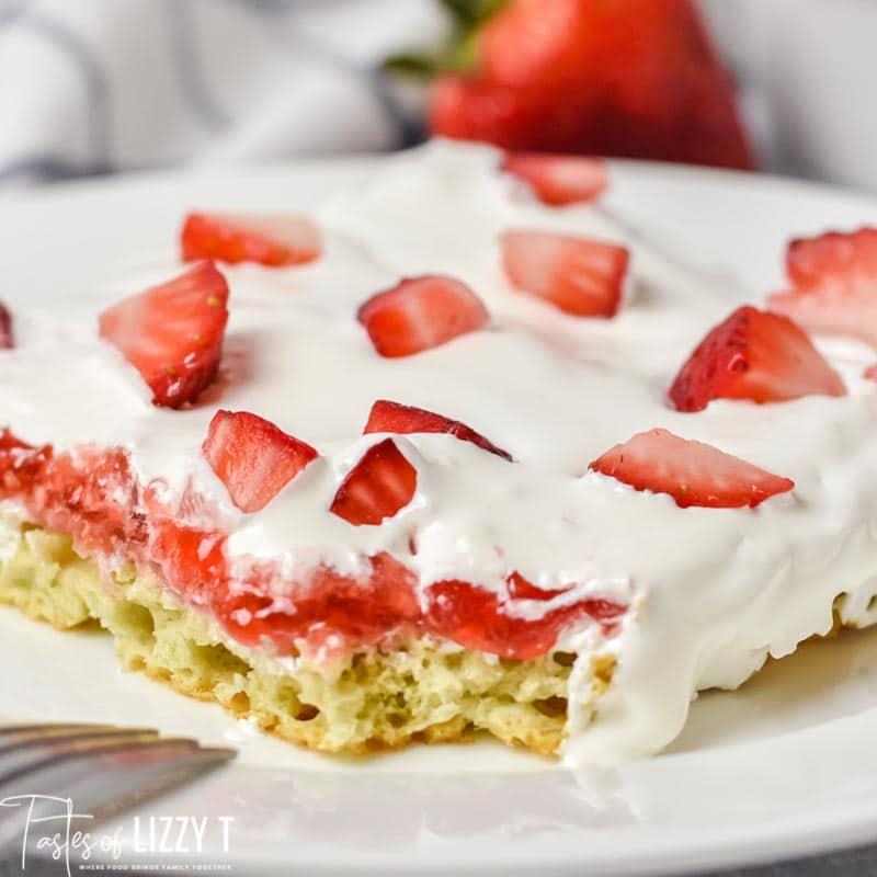 close up of Strawberry Chiffon Sheet Cake