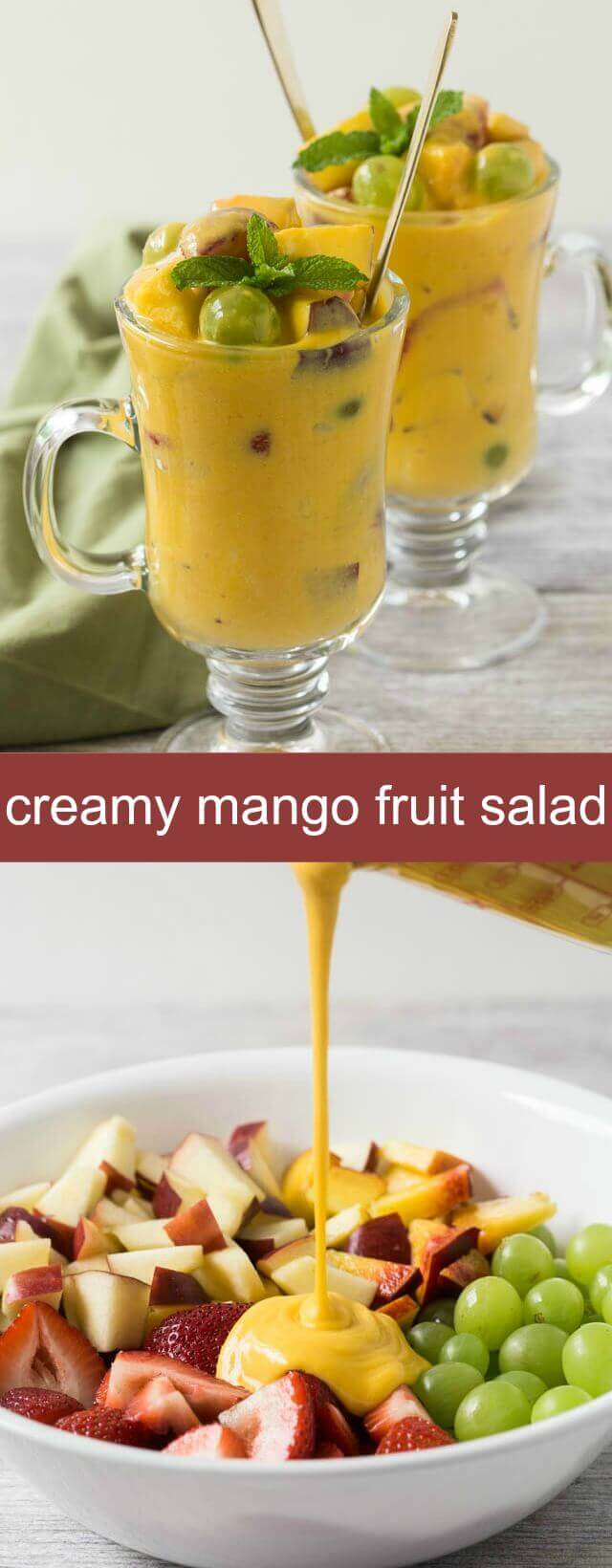 This Creamy Mango Fruit Salad is like having dessert any time of the day. You will love all the goodness that goes into this salad.