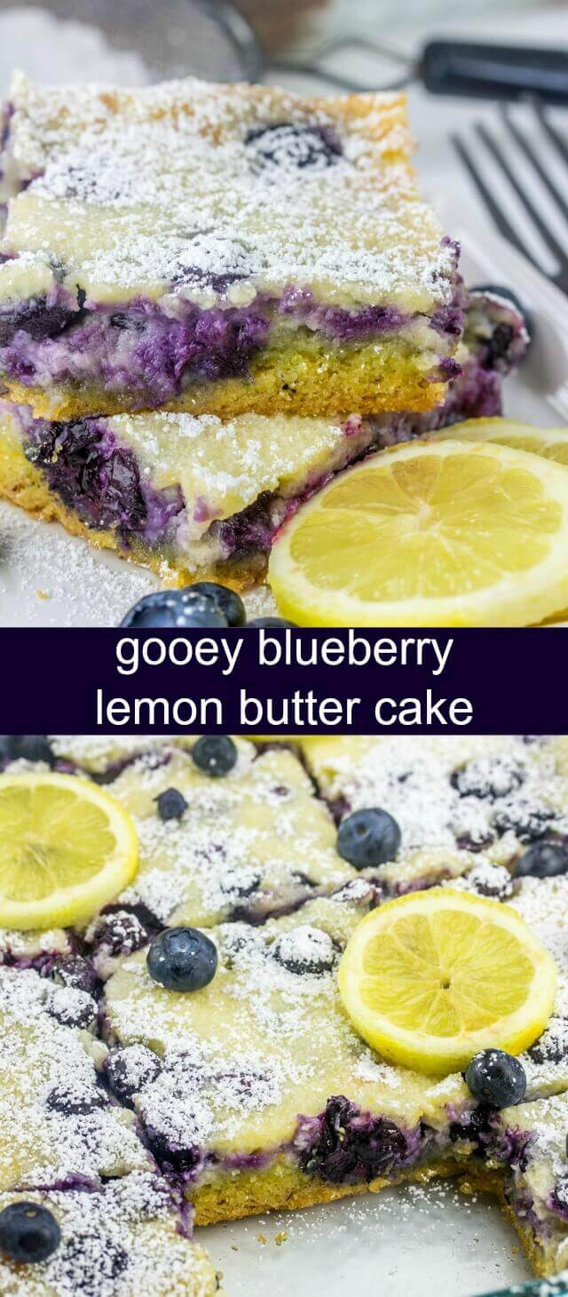 Gooey Blueberry Lemon Butter Cake {A Quick and Easy Snack Cake} lemon/blueberry/cake Ooey gooey and delicious this addicting and flavorful Gooey Blueberry Lemon Butter Cake is quick, easy and absolutely tasty.