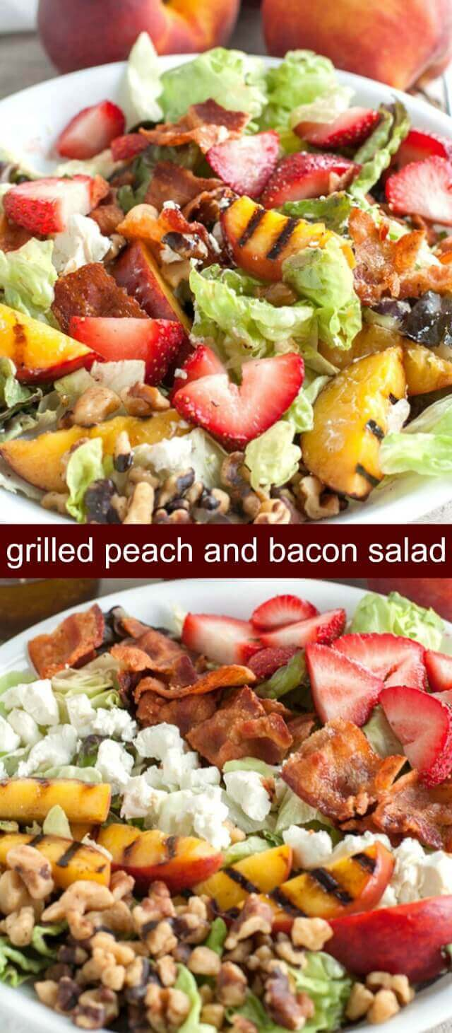 Grilled Peach and Bacon Salad {A Delicious Peach Summer Salad} peach/salad/bacon Grilled peach and bacon salad is bursting with flavor and texture. Filled with grilled peaches, strawberries, goat cheese, walnuts and BACON all topped with a balsamic honey vinaigrette.