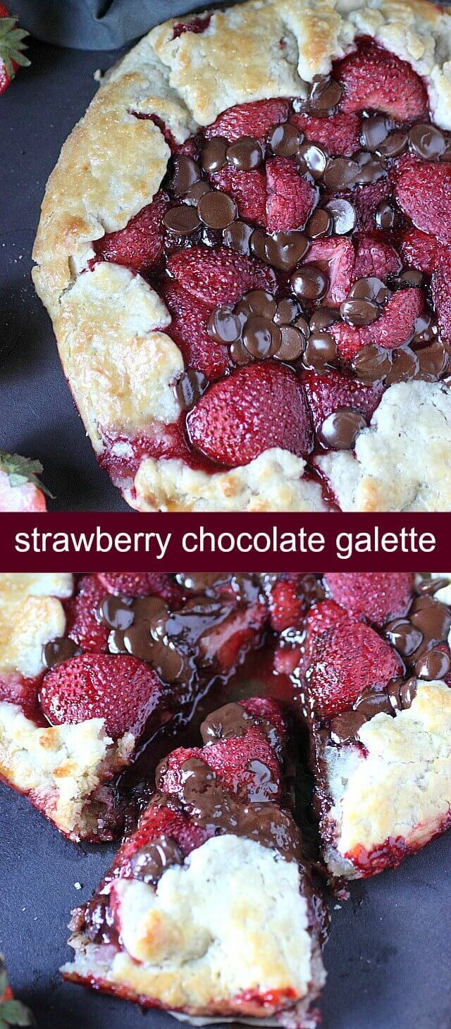 Strawberry Chocolate Galette {A Chocolatey Twist on Traditional Pie} galette/strawberry/chocolate A buttery, super easy homemade pie crust holds a filling of sweetened vanilla strawberries and milk chocolate chips. This Strawberry Chocolate Galette may sound fancy, but it's the easiest dessert you'll make this summer!