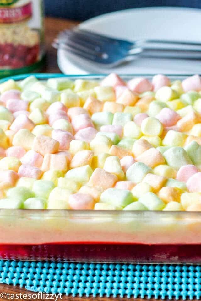 A close up of marshmallow jello salad