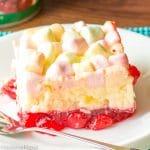 slice of cherry pineapple jello salad