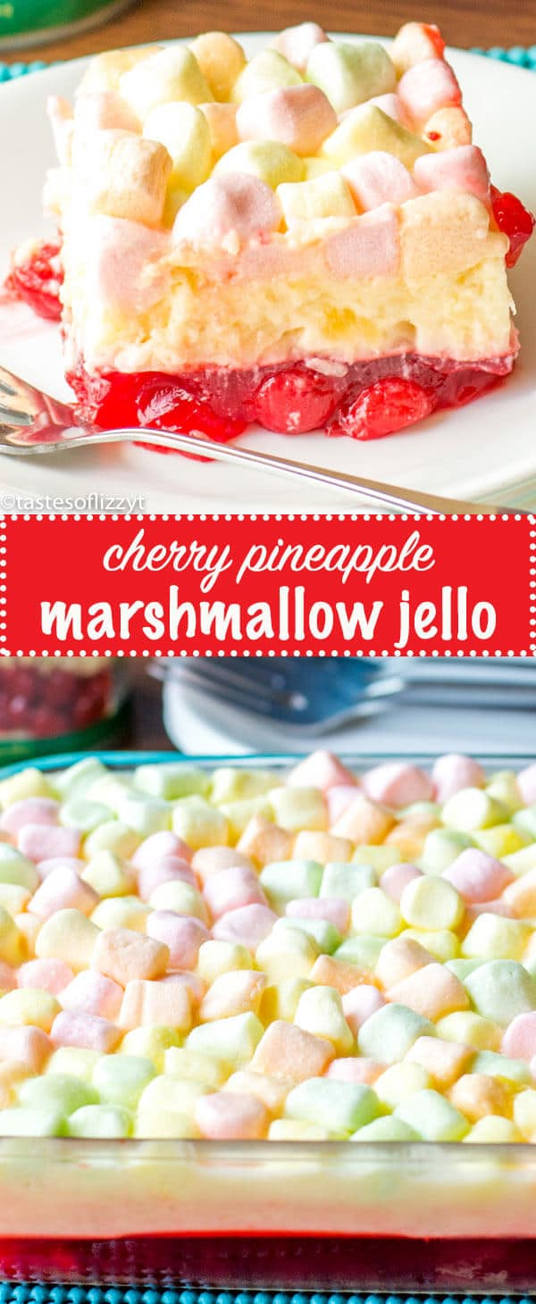 This Cherry Pineapple Marshmallow Jello Salad is a long-time family favorite recipe. There's a cherry layer paired with a tangy lemon cream cheese layer. Cherry Pineapple Marshmallow Jello {Layered Fruit Dessert Recipe}