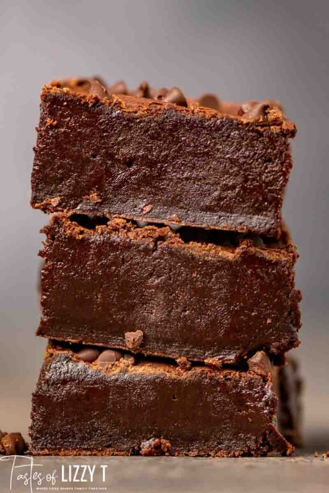 stack of 3 homemade brownies