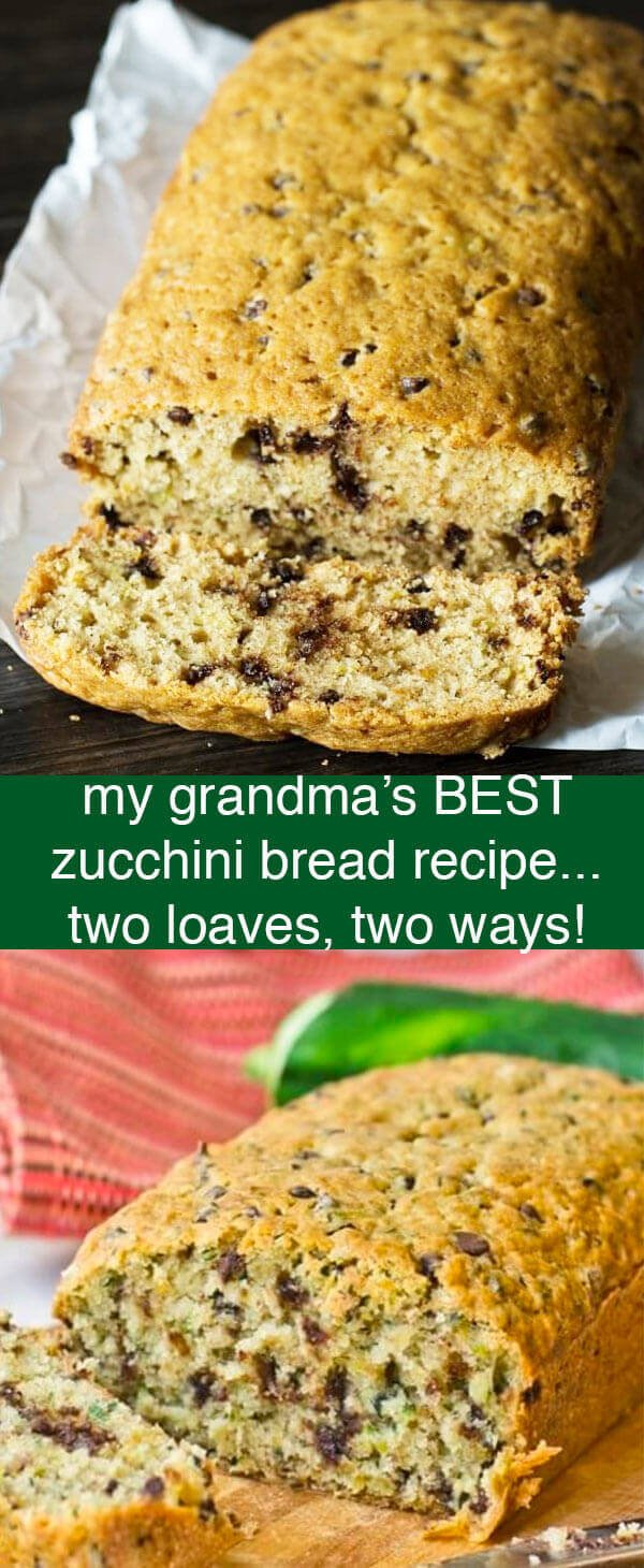This is called Grandma's Zucchini bread because it is my great-grandma's recipe. Super moist and full of flavor. It makes two loaves and freezes well.