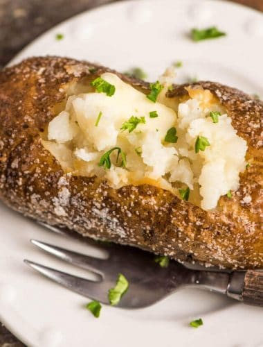 cooking baked potatoes in the oven