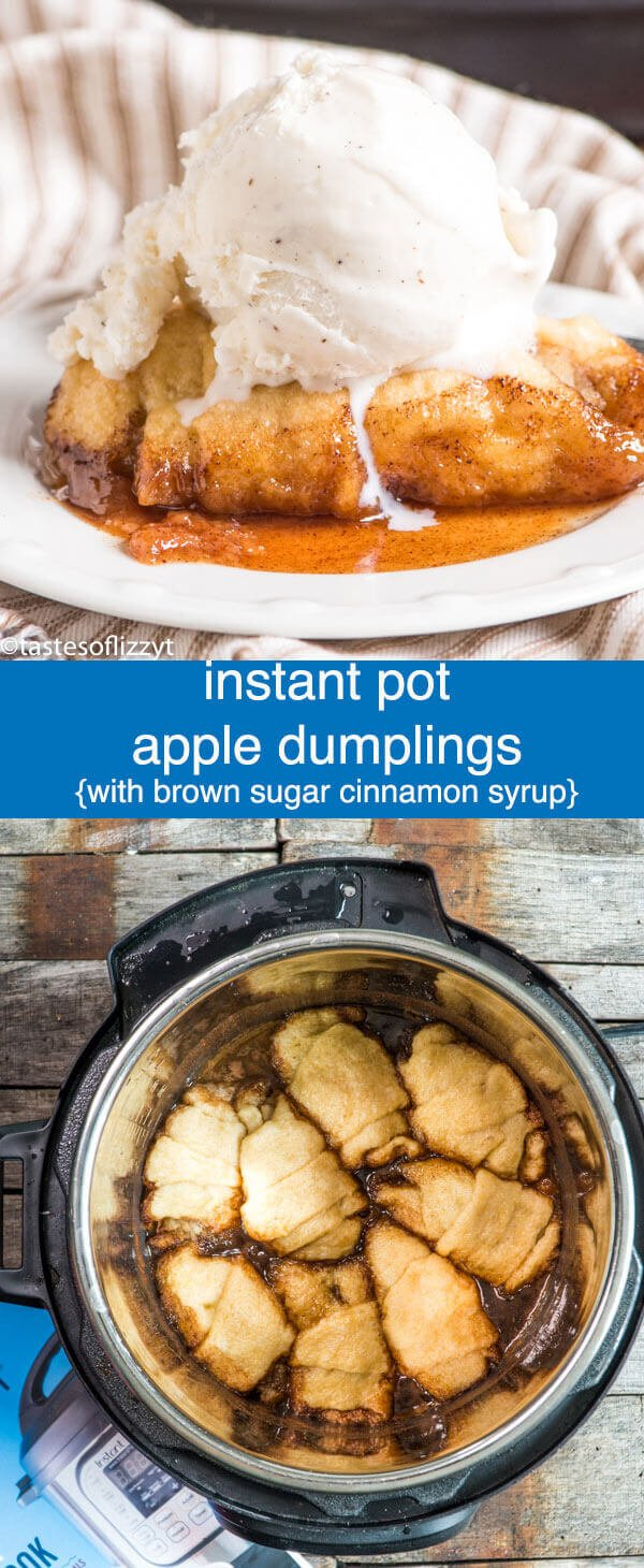 Instant Pot Apple Dumplings are ready in under 30 minutes! This easy apple dumpling recipe uses crescent rolls and a brown sugar, cinnamon, apple cider syrup to make a quick dessert that tastes like fall. Instant Pot Apple Dumplings {Pressure Cooker Apple Dessert Recipe}