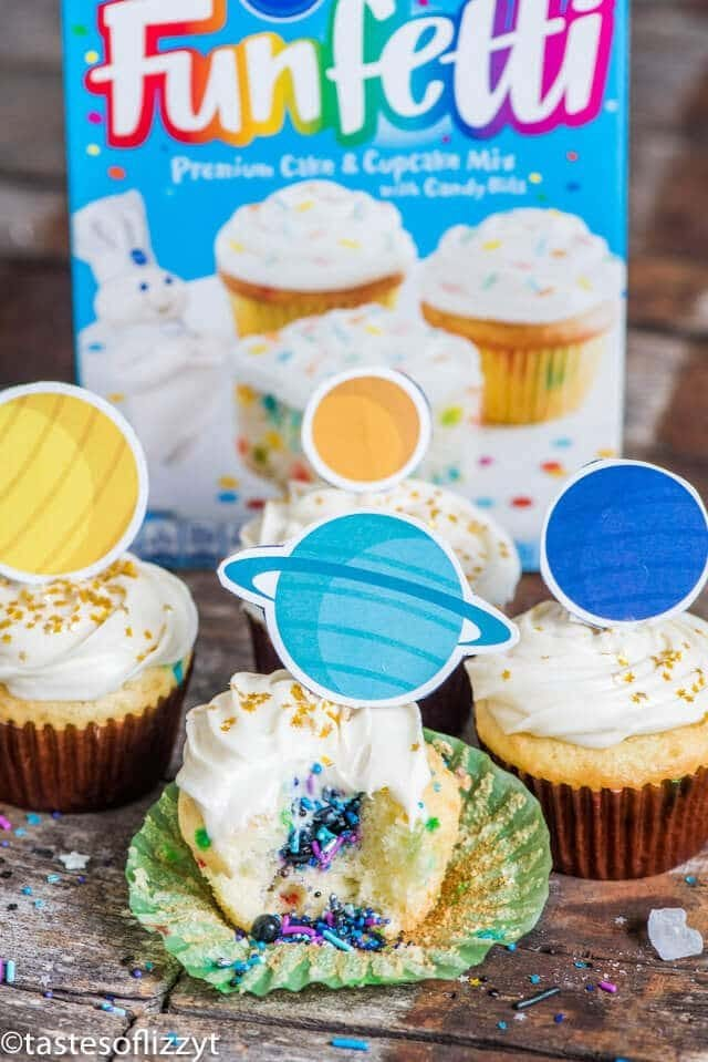 solar system cupcakes with a box mix