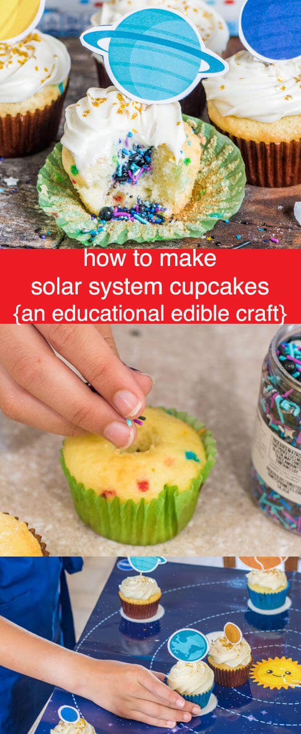 Solar System Cupcakes {Fun Science Educational Edible Craft} What better of a fun way to learn about the solar system than with solar system cupcakes! Kids will love this science lesson with sprinkle filled cupcakes.