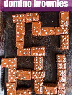 domino brownies on a baking sheet