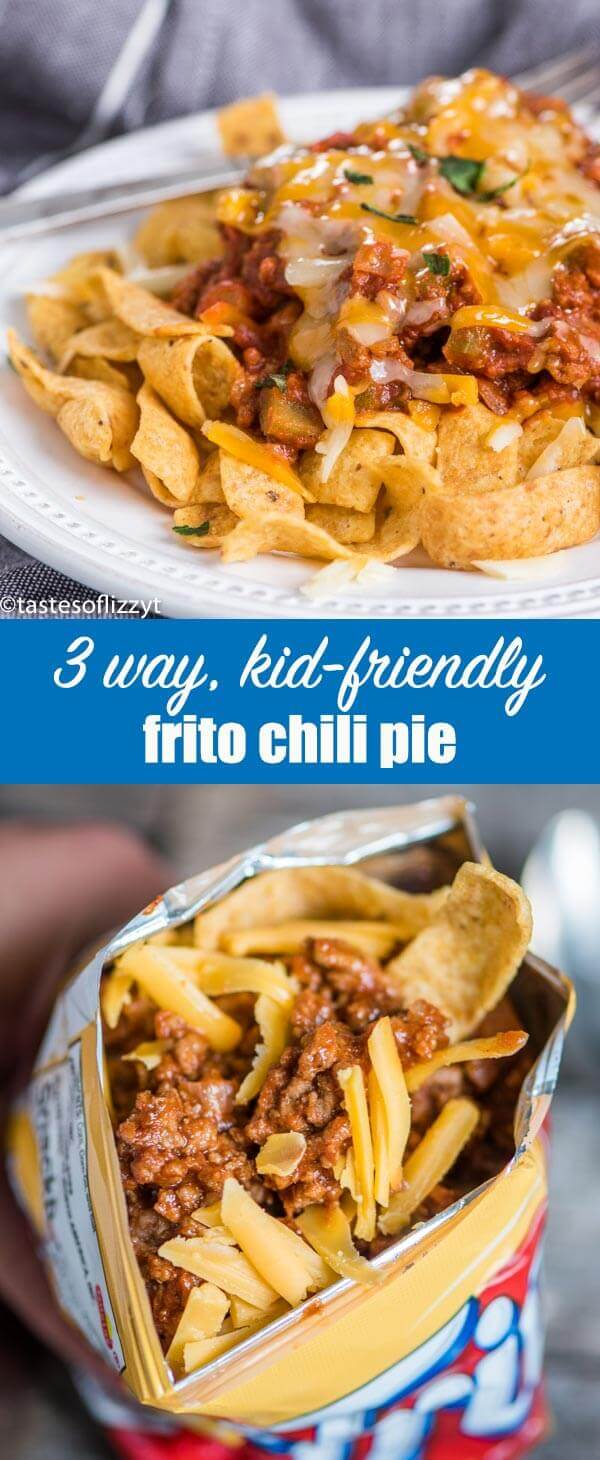 You'll love the versatility of Frito Chili Pie! Spoon over corn chips, serve in a casserole, or take it on-the-go as a school lunch served in a chip baggie. Frito Chili Pie {An Easy Beef Dinner or Lunch Recipe Served 3 Ways}