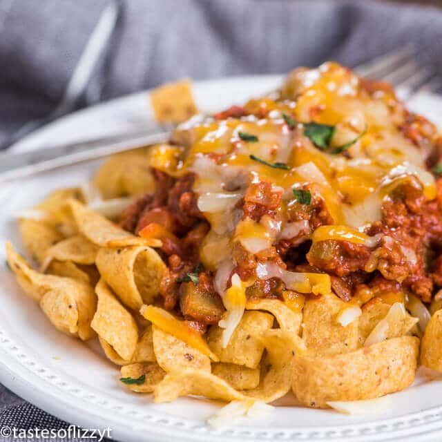 Frito Chili Pie - a delicious easy family-friendly dinner with ground beef.