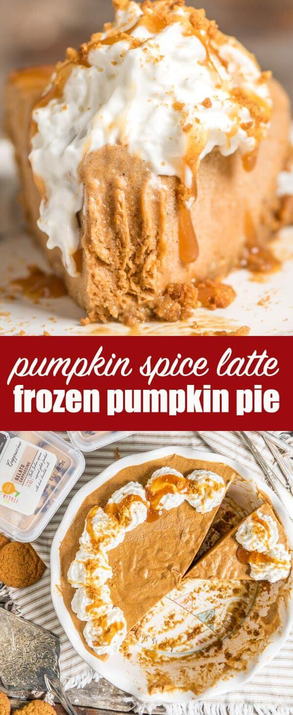 Looking for an alternative to traditional pumpkin pie? Try this frozen pumpkin pie made with cappuccino gelato sitting inside a gingersnap crust. Frozen Pumpkin Pie {No Bake Pumpkin Dessert Recipe with Gelato}