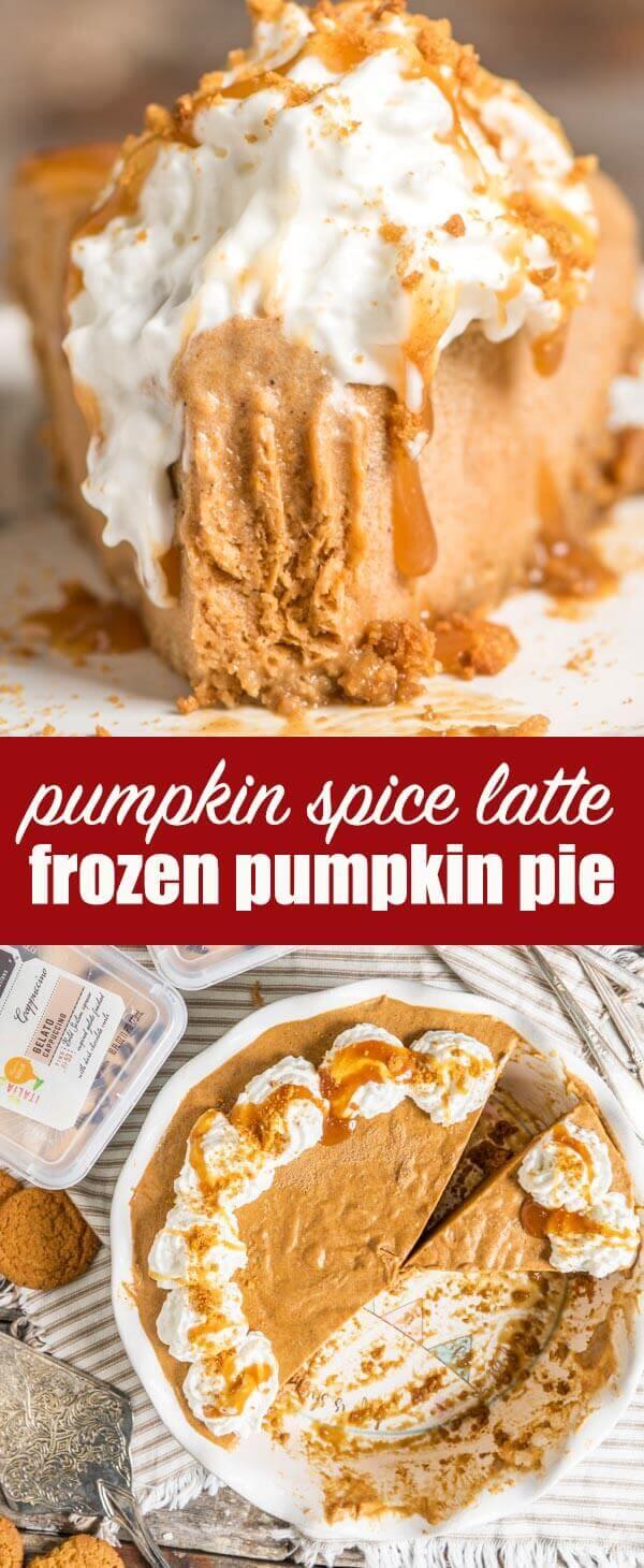 titled photo collage (and shown): Pumpkin Spice Latte Frozen Pumpkin Pie