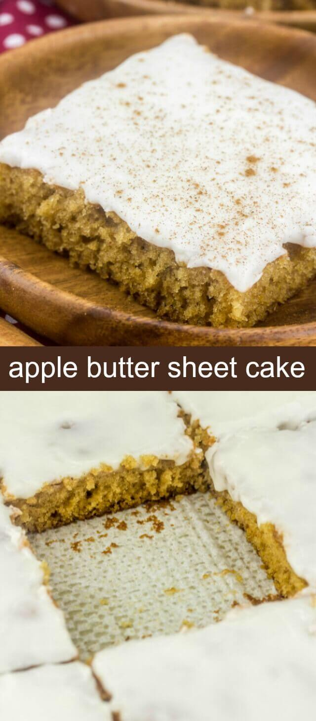 Apple Butter Sheet Cake {An Easy Delicious Apple Dessert for Fall} cake/apple butter/sheet cake Fall is definitely in the air, especially in this Apple Butter Sheet Cake! Moist and delicious all topped with an apple cider glaze making it the perfect easy cake for fall!