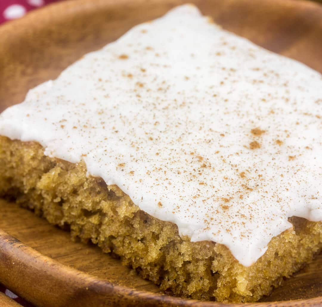 piece of apple butter sheet cake on a plate