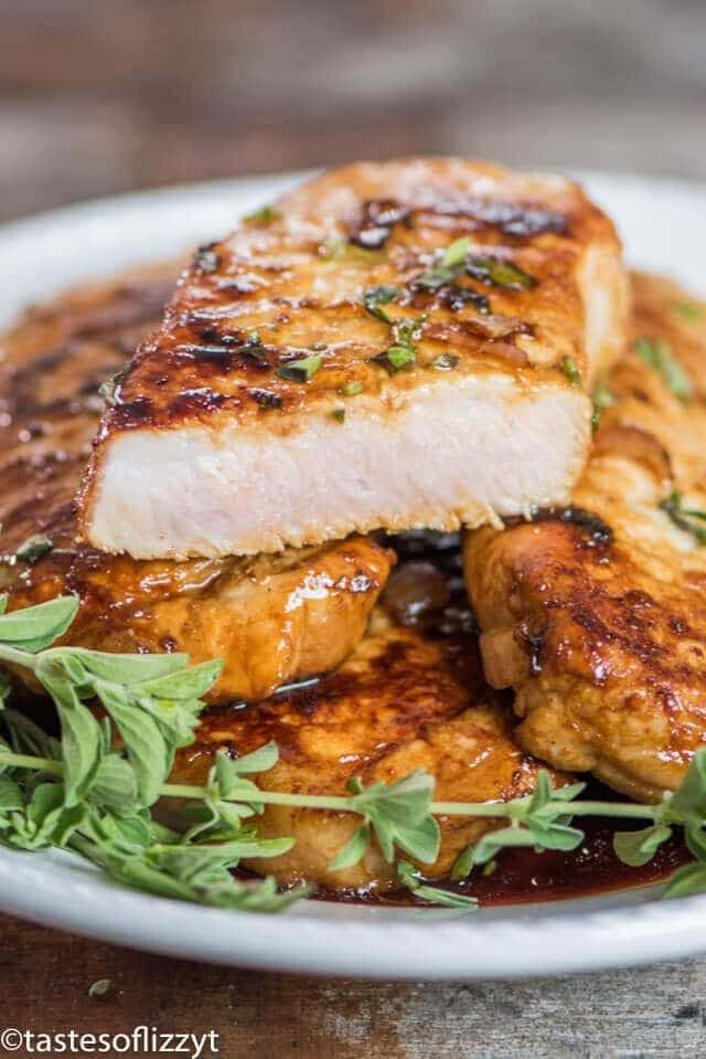 platter of juicy honey oregano pork chops