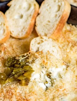 Easy cream cheese appetizer idea: jalapeno popper dip served with baguettes