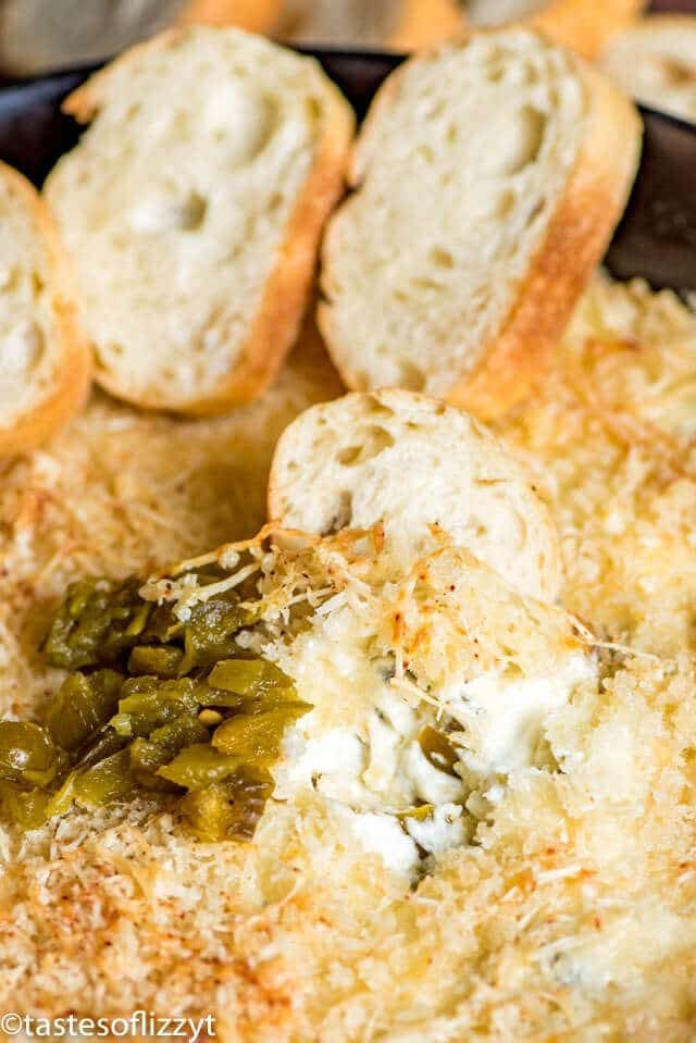 A close up of jalapeno popper dip with bread