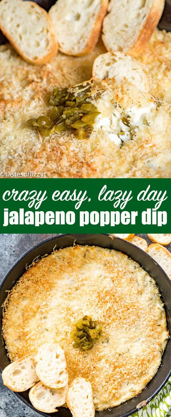 If you love jalapeno poppers but don't have the time to make them, give this lazy day jalapeno popper dip a try. Creamy, spicy cheese spread with a lightly crisp Parmesan topping. Jalapeno Popper Dip {Easy Appetizer Recipe with Parmesan & Jalapenos}