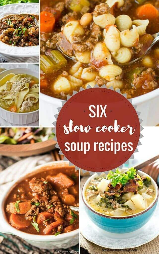collage of slow cooker soup recipes