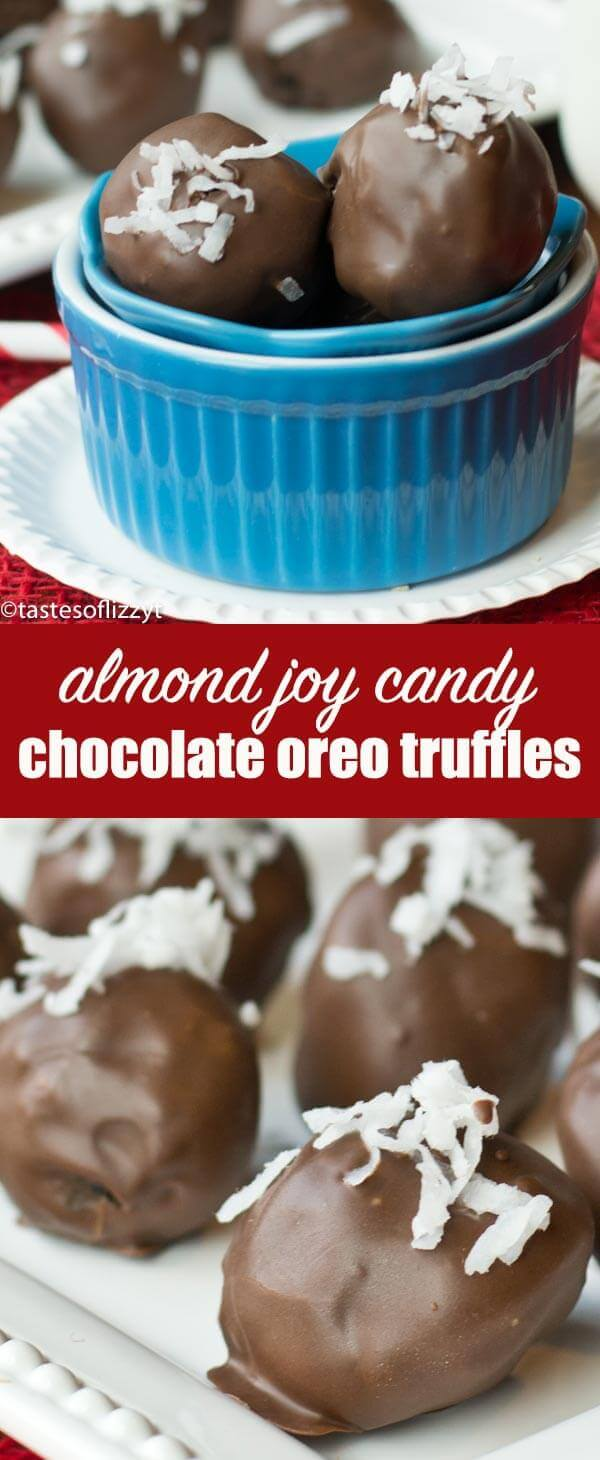 Almond Joy Chocolate Coconut Truffles are a tornado of Oreos, cream cheese, coconut and Mounds candy bars with an almond hidden inside! Chocolate Coconut Truffles {w/ Oreos Inspired by Almond Joy Candy Bars}