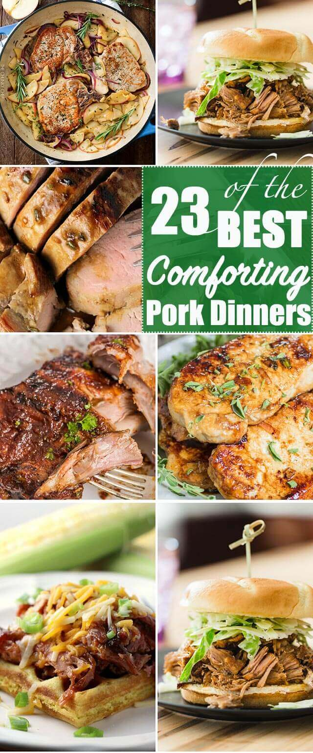 Celebrate National Pork Month with a delicious pork dinner! Here you'll find some of the best comforting pork recipes around. #dinner #pork #maindish