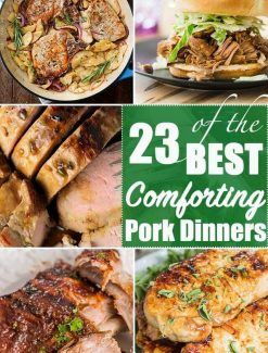 pork dinner collage