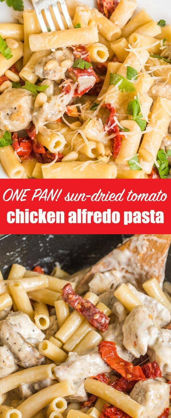 One pan is all you need for this skillet Chicken Alfredo Pasta recipe with from-scratch alfredo sauce, sun-dried tomatoes and pine nuts.