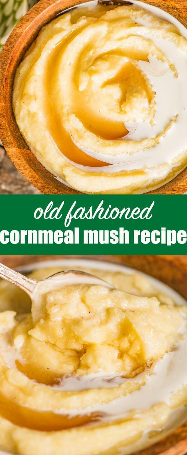 Old-fashioned, comforting cornmeal mush recipe that you can serve as a hot porridge cereal for breakfast, or as a side dish to a main dish at dinner time. #cornmeal #polenta #cornmush #mush